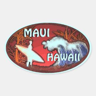 La persona que practica surf del trullo de Maui Pegatina Ovalada