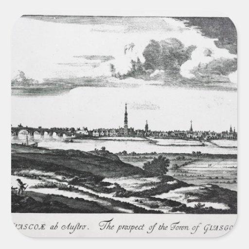 La perspectiva de la ciudad de Glasgow Pegatina Cuadrada
