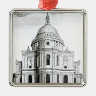 La perspectiva del este de la catedral de San Adorno Navideño Cuadrado De Metal