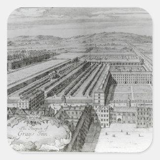 La perspectiva del mesón de los grises, 1720 pegatina cuadrada