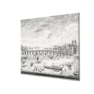 La perspectiva suroriental del puente de Westminst Lona Envuelta Para Galerías