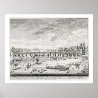 La perspectiva suroriental del puente de Westminst Impresiones