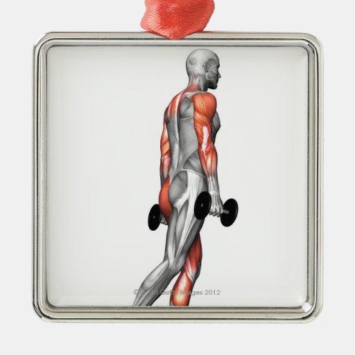 La pesa de gimnasia intensifica 3 adorno navideño cuadrado de metal
