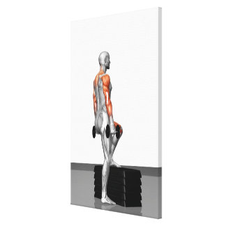 La pesa de gimnasia intensifica impresión en lienzo estirada
