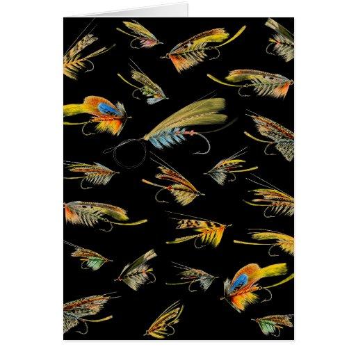 La pesca con mosca del vintage engaña la tarjeta