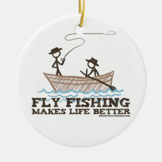 La pesca con mosca hace vida mejor adorno navideño redondo de cerámica