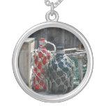 La pesca de cristal flota el infront azul rojo colgantes personalizados