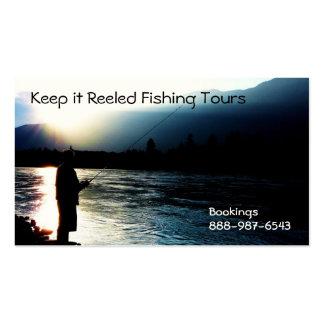 La pesca de la silueta del pescador dirige los neg tarjetas de negocios