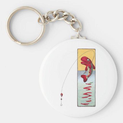 La pesca de pescados echa una línea llaveros personalizados