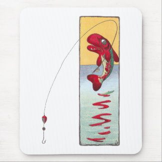 La pesca de pescados echa una línea tapete de ratón