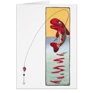 La pesca de pescados echa una línea tarjeta de felicitación