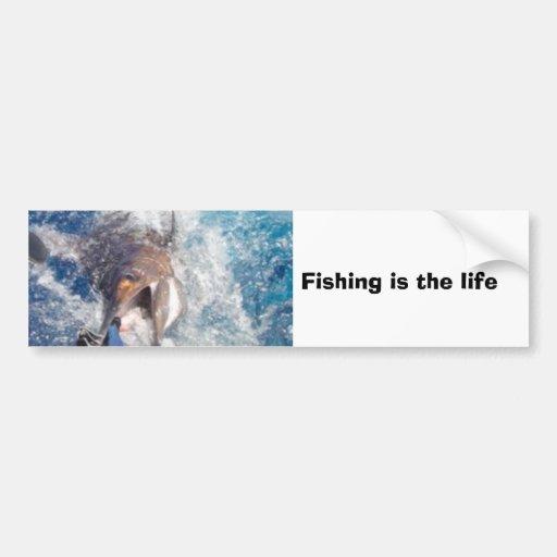 La pesca es la vida pegatina de parachoque
