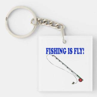 La pesca es mosca llavero cuadrado acrílico a una cara
