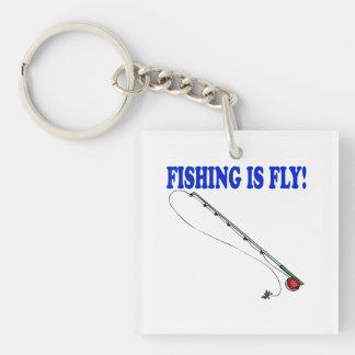 La pesca es mosca llavero cuadrado acrílico a doble cara