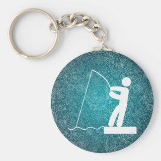 La pesca sirve símbolo llavero redondo tipo pin