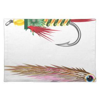 La pesca vuela los señuelos insecto y piscardos mantel individual