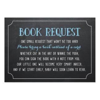 La petición azul del libro de la fiesta de tarjetas de visita grandes