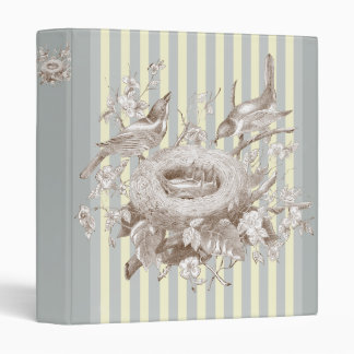 La Petite Famille on blue and cream background 3 Ring Binder