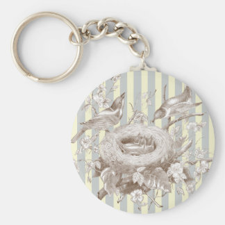 La Petite Famille on blue and cream background Keychain