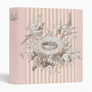 La Petite Famille on pink and cream background 3 Ring Binder