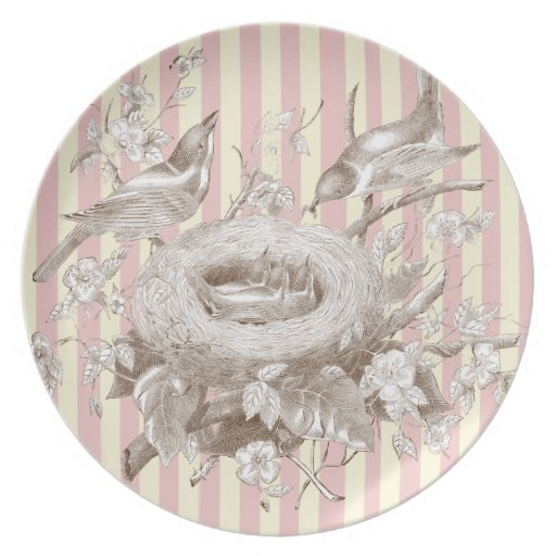 La Petite Famille on pink and cream background Dinner Plates