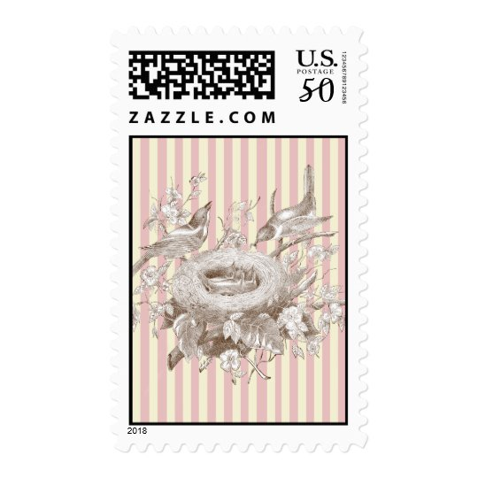 La Petite Famille on pink and cream background Postage