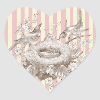 La Petite Famille on pink and cream background Heart Stickers