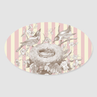 La Petite Famille on pink and cream background Oval Stickers