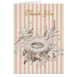 La Petite Famille, pink and cream Thank You Card