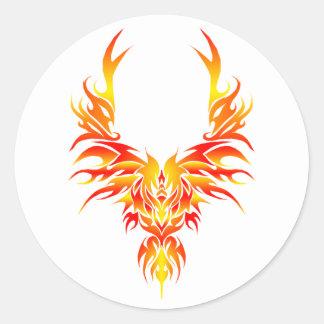 La Phoenix ardiente Pegatina Redonda