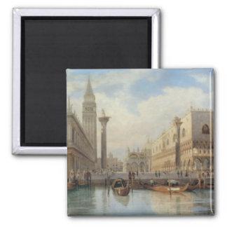 La Piazza San Marco Venice, Salomon Corrodi 2 Inch Square Magnet
