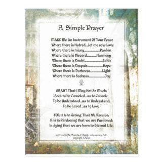 La Piazza Simple Prayer For Peace by St. Francis Postcard