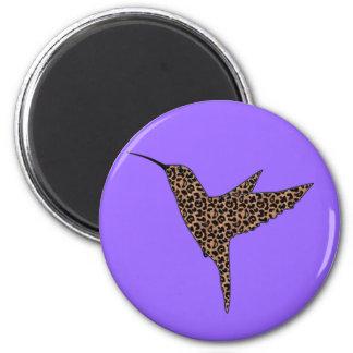 La piel del leopardo mancha el colibrí imán redondo 5 cm