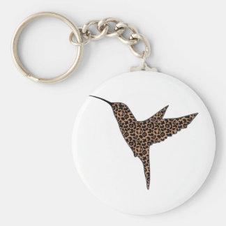 La piel del leopardo mancha el colibrí llavero redondo tipo pin