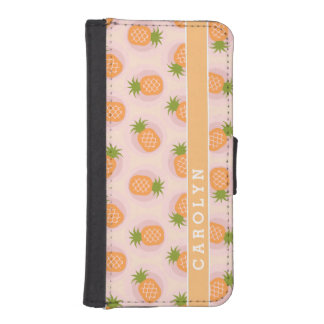 La piña anaranjada rosada retra modela el cartera para iPhone 5