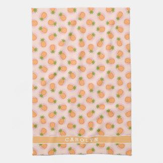 La piña anaranjada rosada retra modela el toalla de mano
