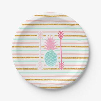 La piña exótica de la turquesa rosada raya flechas plato de papel de 7 pulgadas