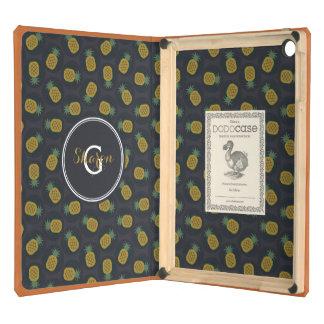 La piña negra retra del oro modela el monograma