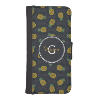 La piña negra retra del oro modela el monograma fundas cartera para teléfono