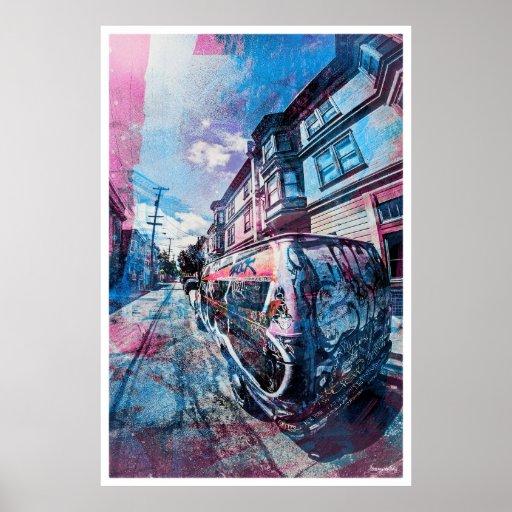 La pintada del distrito de la misión oscila la fur póster