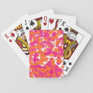 La pintura anaranjada fucsia de las rosas fuertes baraja de póquer