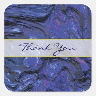 La pintura azul púrpura de la textura pesada le pegatina cuadrada