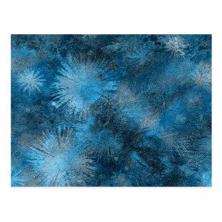 La pintura azul salpica diseño artístico postal