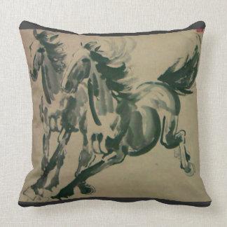 La pintura china de 2 caballos ajusta la almohada