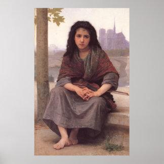 La pintura clásica de Bouguereau: El bohemio (1890 Póster