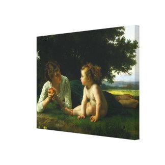 La pintura clásica de Bouguereau: Tentación (1880) Impresion En Lona