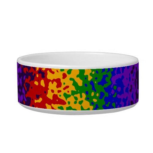 La pintura colorida del arco iris salpica arte abs bol para gato