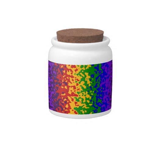 La pintura colorida del arco iris salpica arte abs plato para caramelo