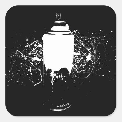 La pintura de aerosol blanco y negro puede salpica calcomanía cuadrada personalizada