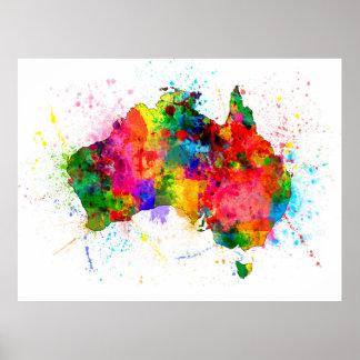 La pintura de Australia salpica el mapa Póster
